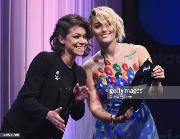 Actors Tatiana Maslany and Paris Jackson speak onstage during the 28th Annual GLAAD Media Awards in LA at The Beverly Hilton Hotel on April 1 2017 in...