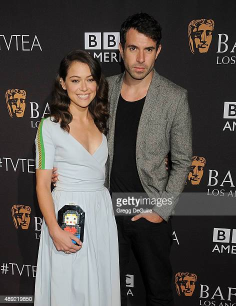 Actors Tatiana Maslany and Tom Cullen arrive at the BAFTA Los Angeles TV Tea 2015 at SLS Hotel on September 19 2015 in Beverly Hills California