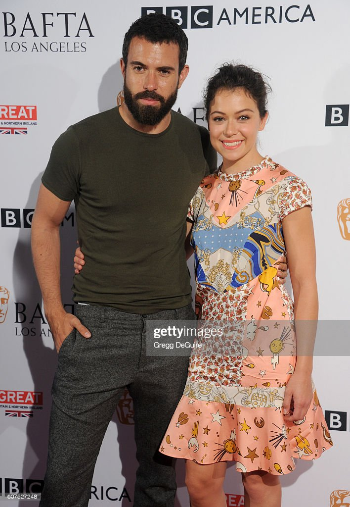 Actors Tatiana Maslany and Tom Cullen arrive at the BBC America BAFTA Los Angeles TV Tea Party at The London Hotel on September 17, 2016 in West Hollywood, California.