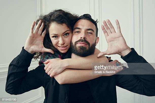 Actors Tatiana Maslany and Tom Cullen of 'The Other Half' are photographed in the Getty Images SXSW Portrait Studio powered by Samsung at the Samsung...