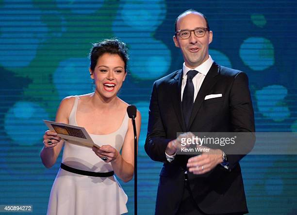 Actors Tatiana Maslany and Tony Hale speak onstage during the 4th Annual Critics' Choice Television Awards at The Beverly Hilton Hotel on June 19...
