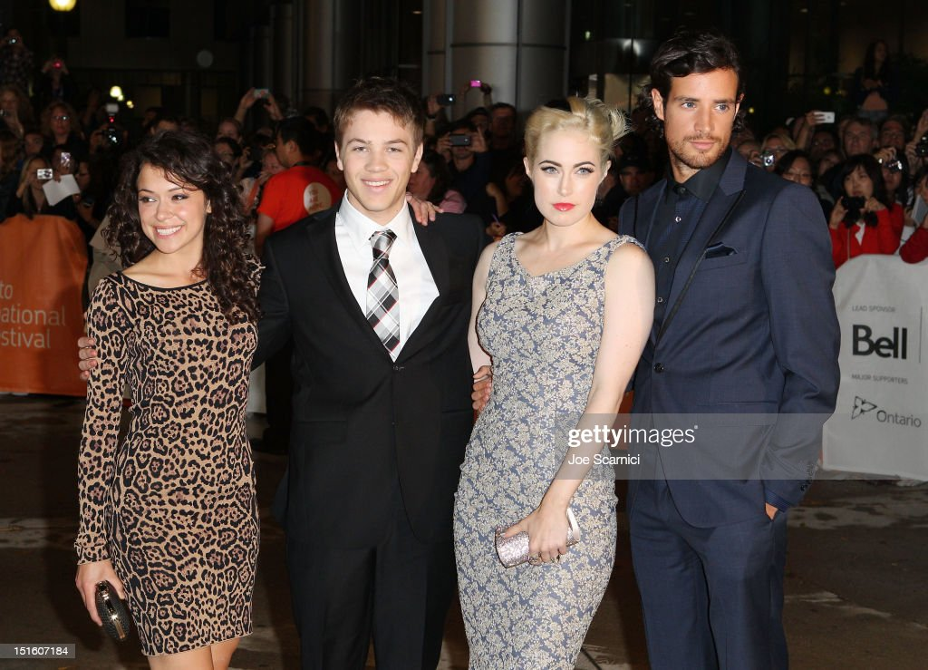 Actors Tatiana Maslany, Connor Jessup, <a gi-track='captionPersonalityLinkClicked' href=/galleries/search?phrase=Charlotte+Sullivan+-+Actress&family=editorial&specificpeople=6254640 ng-click='$event.stopPropagation()'>Charlotte Sullivan</a> and Charlie Carrick attend 'The Reluctant Fundamentalist' premiere during the 2012 Toronto International Film Festival at Roy Thomson Hall on September 8, 2012 in Toronto, Canada.