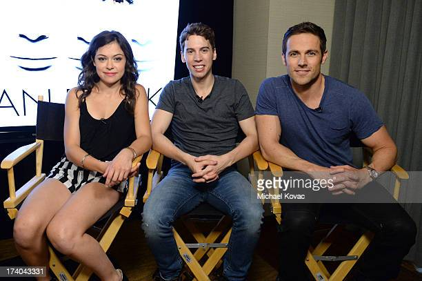 Actors Tatiana Maslany Jordan Gavaris and Dylan Bruce attend day 2 of the WIRED Cafe at ComicCon on July 19 2013 in San Diego California