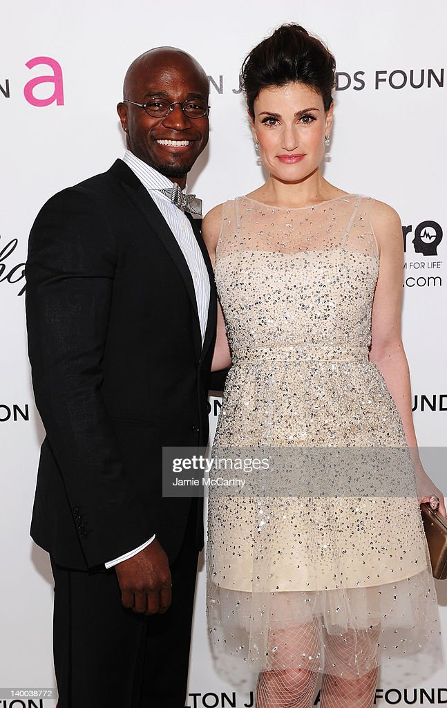 Actors Taye Diggs and Idina Menzel arrive at the 20th Annual Elton John AIDS Foundation Academy Awards Viewing Party at The City of West Hollywood...