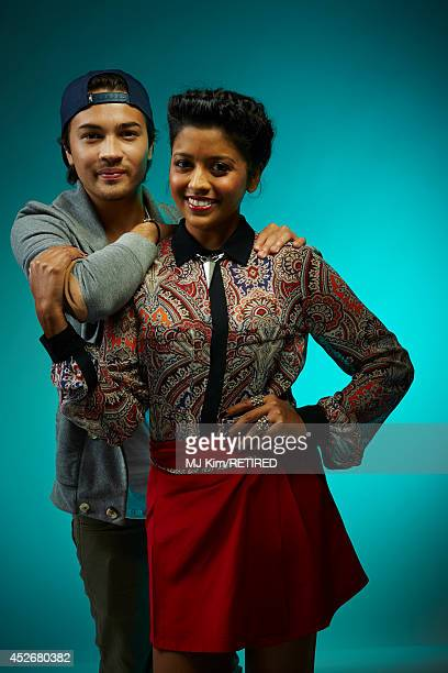 Actors Taylor Gray and Tiya Sircar pose for a portrait at the Getty Images Portrait Studio powered by Samsung Galaxy at ComicCon International 2014...