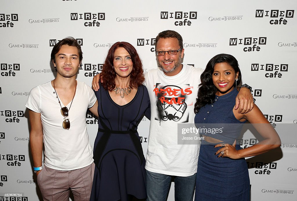 Actors Taylor Gray, Vanessa Marshall, Steve Bloom, and <a gi-track='captionPersonalityLinkClicked' href=/galleries/search?phrase=Tiya+Sircar&family=editorial&specificpeople=5808452 ng-click='$event.stopPropagation()'>Tiya Sircar</a> attend day 1 of the WIRED Cafe @ Comic Con at Omni Hotel on July 24, 2014 in San Diego, California.