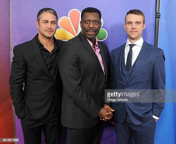 Actors Taylor Kinney Eamonn Walker and Jesse Spencer of 'Chicago Fire' arrive at day 2 of the NBCUniversal 2015 Press Tour at The Langham Huntington...