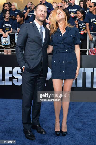 Actors Taylor Kitsch and Connie Britton attend the Los Angeles premiere of 'Battleship' at Nokia Theatre LA Live on May 10 2012 in Los Angeles...