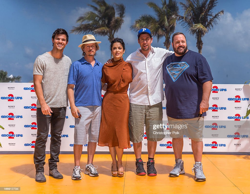 Actors Taylor Lautner, David Spade, Salma Hayek, Adam Sandler and Kevin James attend the 'Grown Ups 2' Photo Call at The 5th Annual Summer Of Sony at the Ritz Carlton Hotel on April 18, 2013 in Cancun, Mexico.