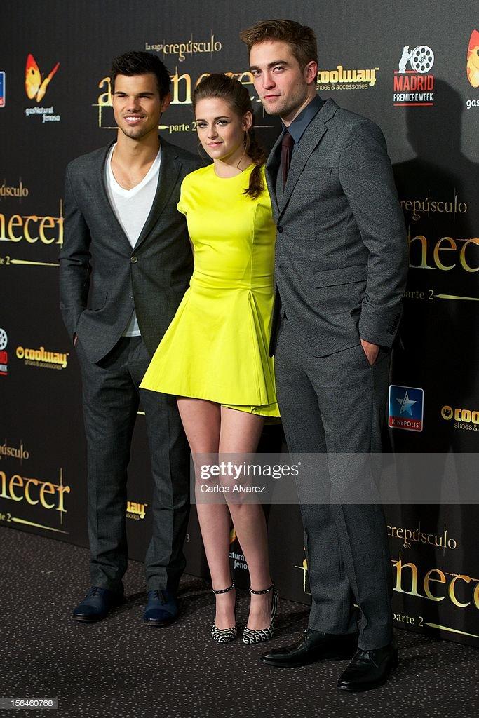 Actors Taylor Lautner, Kristen Stewart and Robert Pattinson attend the 'The Twilight Saga: Breaking Dawn - Part 2' (La Saga Crepusculo: Amanecer Parte 2) premiere at the Kinepolis cinema on November 15, 2012 in Madrid, Spain.