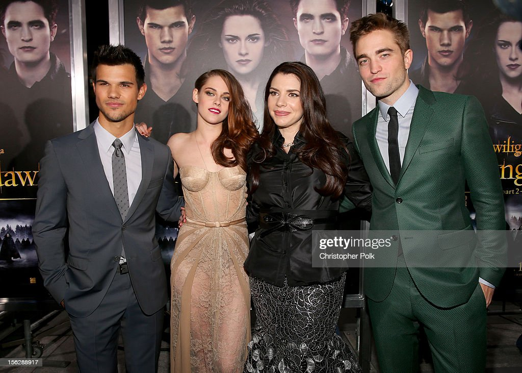 Actors Taylor Lautner, Kristen Stewart, author Stephenie Meyer, and actor Robert Pattinson arrive at the premiere of Summit Entertainment's 'The Twilight Saga: Breaking Dawn - Part 2' at Nokia Theatre L.A. Live on November 12, 2012 in Los Angeles, California.