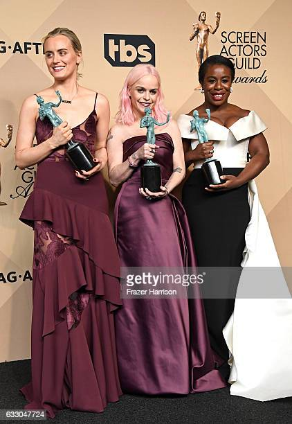 Actors Taylor Schilling Taryn Manning and Uzo Aduba cowinners of the Outstanding Performance by an Ensemble in a Comedy Series award for 'Orange Is...