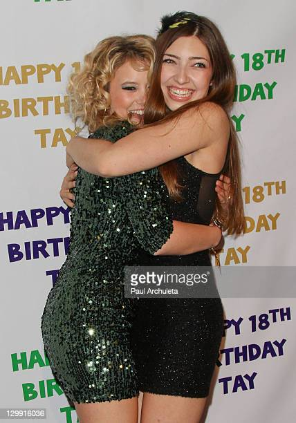 Actors Taylor Spreitler and Shelby Young attend Taylor Spreitler 18th Birthday Party at Crimson on October 21 2011 in Hollywood California