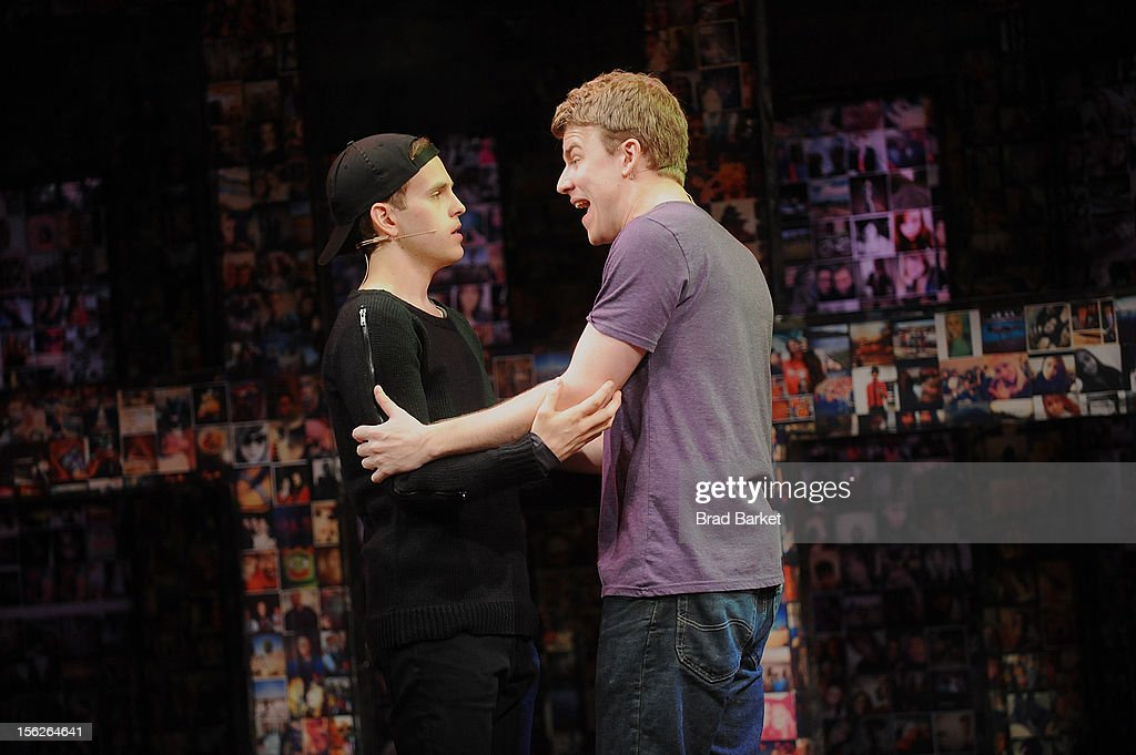 Actors Taylor Trensch (L) and Jason Hite attend the 'Bare' Press Rehearsal at New World Stages on November 12, 2012 in New York City.