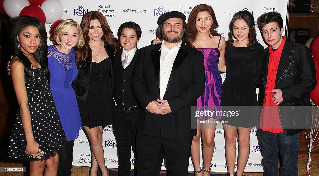 Actors Teala Dunn, Audrey Whitby, Julianna Rose, Zach Callison, Jack Black, Jennessa Rose, Temara Melek and Nolan Ammon attend the 14th Annual RSN's Renal Teen Prom at Notre Dame High School on January 20, 2013 in Sherman Oaks, California.