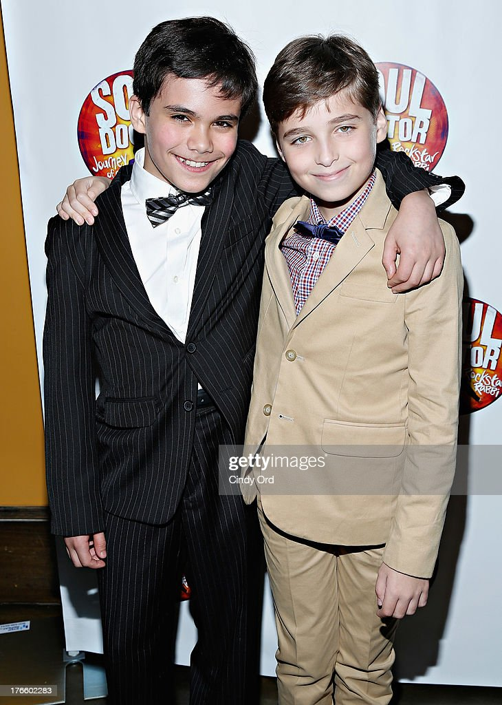 Actors Teddy Walsh and Ethan Khusidman attend the after party for the Broadway opening night of 'Soul Doctor' at the The Liberty Theatre on August 15, 2013 in New York City.