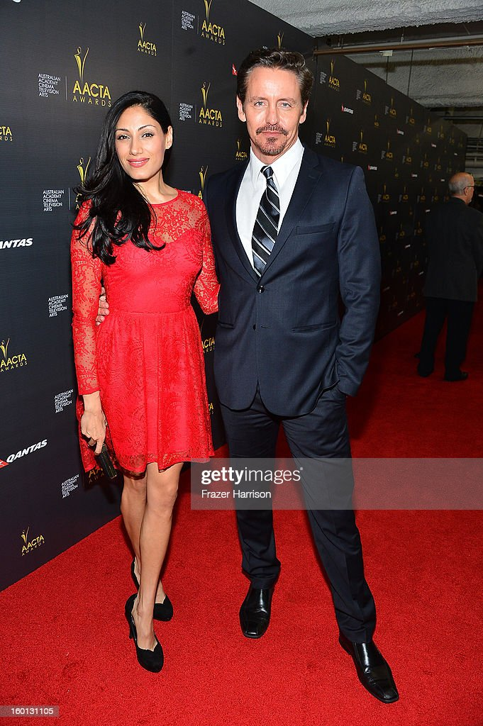 Actors Tehmina Sunny (L) and Charles Mesure arrive at the 2ND AACTA International Awards at Soho House on January 26, 2013 in West Hollywood, California.