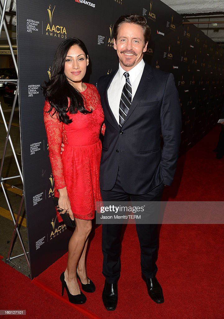 Actors Tehmina Sunny (L) ands Charles Mesure attend the Australian Academy of Cinema and Television Arts' 2nd AACTA International Awards at Soho House on January 26, 2013 in West Hollywood, California.