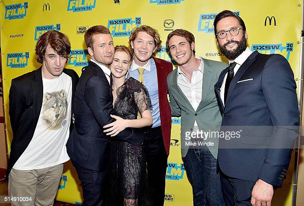 Actors Temple Baker Glen Powell Zoey Deutch Tanner Kalina Blake Jenner and Juston Street attend the screening of 'Everybody Wants Some' during the...