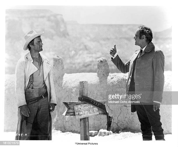 Actors Terence Hill and Henry Fonda on set of the Universal Studio movie 'My Name Is Nobody' in 1973