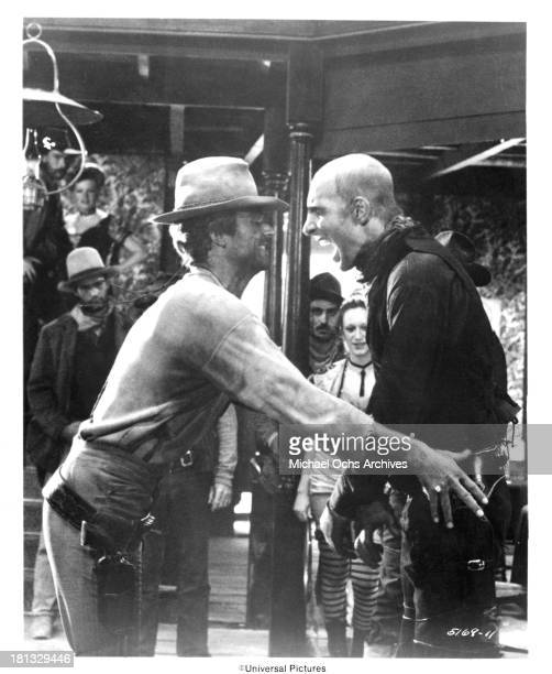 Actors Terence Hill and Jean Martin on set of the Universal Studio movie 'My Name Is Nobody' in 1973