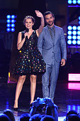 Actors Teresa Palmer and Alexander DiPersia speak onstage at the MTV Fandom Awards San Diego at PETCO Park on July 21 2016 in San Diego California