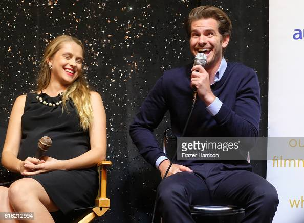Actors Teresa Palmer and Andrew Garfield attend Australians In Film Presents 'Hacksaw Ridge' Screening and QA With Mel Gibson at Ahrya Fine Arts...