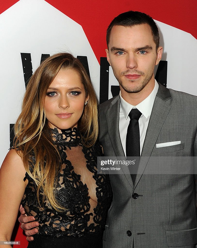 Actors <a gi-track='captionPersonalityLinkClicked' href=/galleries/search?phrase=Teresa+Palmer&family=editorial&specificpeople=612319 ng-click='$event.stopPropagation()'>Teresa Palmer</a> and <a gi-track='captionPersonalityLinkClicked' href=/galleries/search?phrase=Nicholas+Hoult&family=editorial&specificpeople=598892 ng-click='$event.stopPropagation()'>Nicholas Hoult</a> arrive for the Los Angeles premiere of Summit Entertainment's 'Warm Bodies' at ArcLight Cinemas Cinerama Dome on January 29, 2013 in Hollywood, California.