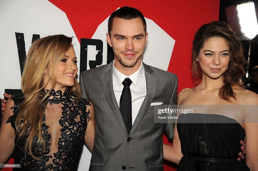 Actors Teresa Palmer, Nicholas Hoult and Analeigh Tipton arrive for the Los Angeles premiere of Summit Entertainment's 'Warm Bodies' at ArcLight Cinemas Cinerama Dome on January 29, 2013 in Hollywood, California.
