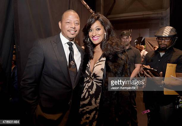 Actors Terrence Howard and Tracee Ellis Ross pose backstage during the 2015 BET Awards at the Microsoft Theater on June 28 2015 in Los Angeles...