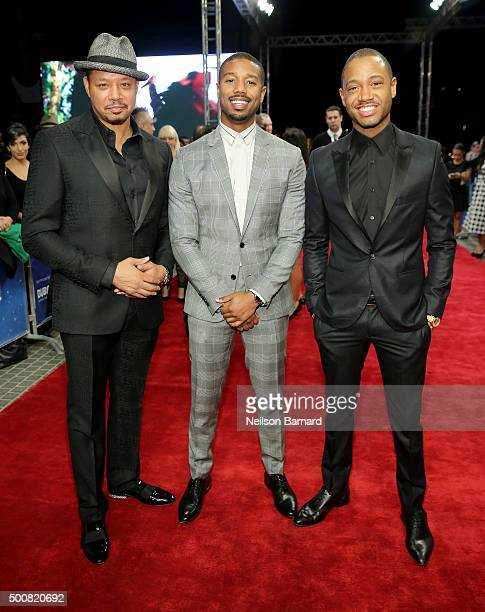 Actors Terrence Howard Michael B Jordan and Terrence J attend the 'Bilal' premiere during day two of the 12th annual Dubai International Film...