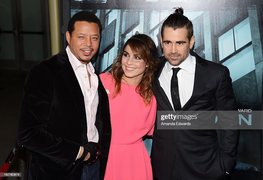 Actors Terrence Howard, Noomi Rapace and Colin Farrell arrive at the Los Angeles Premiere of 'Dead Man Down' at ArcLight Hollywood on February 26, 2013 in Hollywood, California.