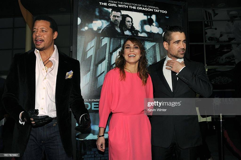 Actors Terrence Howard, Noomi Rapace and Colin Farrell arrive to the premiere of FilmDistricts's 'Dead Man Down' at ArcLight Hollywood on February 26, 2013 in Hollywood, California.