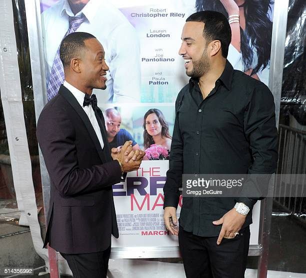 Actors Terrence J and French Montana arrive at the premiere of Lionsgate's 'The Perfect Match' at ArcLight Hollywood on March 7 2016 in Hollywood...