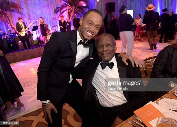 Actors Terrence J and Sidney Poitier attend the Brigitte and Bobby Sherman Children's Foundation's 6th Annual Christmas Gala and Fundraiser at...