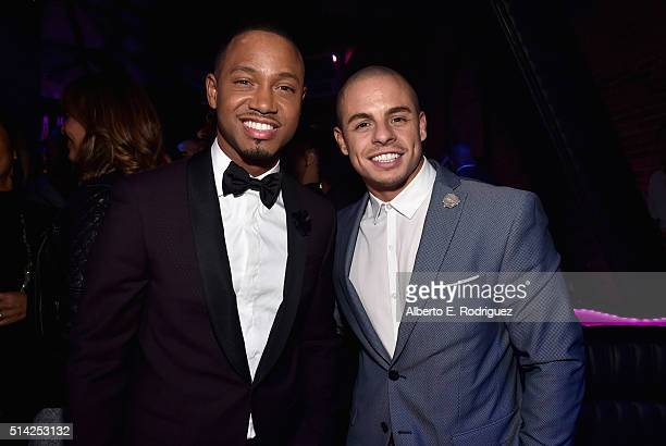 Actors Terrence Jenkins and Beau Casper Smart attend the after party for the premiere of Lionsgate's 'The Perfect Match' at ArcLight Hollywood on...