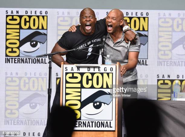 Actors Terry Crews and Will Smith speak onstage at Netflix Films 'Bright' and 'Death Note' panel during ComicCon International 2017 at San Diego...