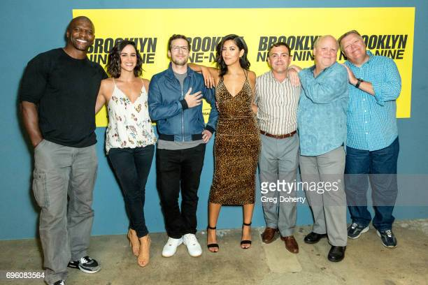 Actors Terry Crews Melissa Fumero Andy Samberg Stephanie Beatriz Joe Lo Truglio Dirk Blocker and Joel McKinnon Miller arrive for the Fox's 'Brooklyn...