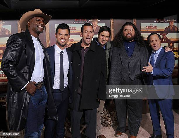 Actors Terry Crews Taylor Lautner Adam Sandler Luke Wilson Jorge Garcia and Rob Schneider arrive at the premiere of Netflix's 'The Ridiculous 6' at...