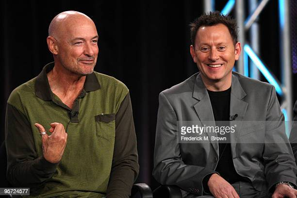 Actors Terry O'Quinn and Michael Emerson speak onstage at the ABC 'Lost' QA portion of the 2010 Winter TCA Tour day 4 at the Langham Hotel on January...