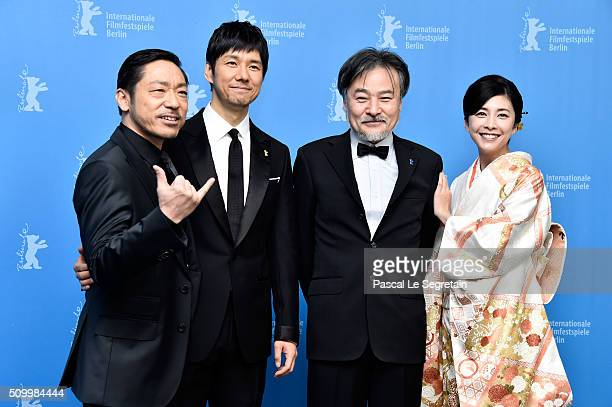 Actors Teruyuki Kagawa Nishijima Hidetoshi director Kiyoshi Kurosawa and actress Yuko Takeuchi attend the 'Creepy' photo call during the 66th...