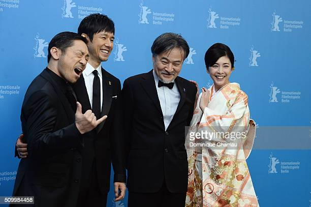 Actors Teruyuki Kagawa Nishijima Hidetoshi director Kiyoshi Kurosawa and actress Yuko Takeuchi and actor attend the 'Creepy' photo call during the...