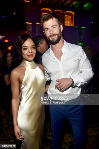 Actors Tessa Thompson and Chris Hemsworth at The World Premiere of Marvel Studios' 'Thor Ragnarok' at the El Capitan Theatre on October 10 2017 in...