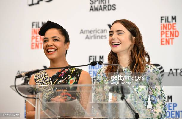 Actors Tessa Thompson and Lily Collins speak onstage during the Film Independent 2018 Spirit Awards press conference at The Jeremy Hotel on November...