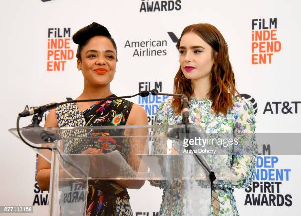 Actors Tessa Thompson and Lily Collins speaks onstage during the Film Independent 2018 Spirit Awards press conference at The Jeremy Hotel on November...