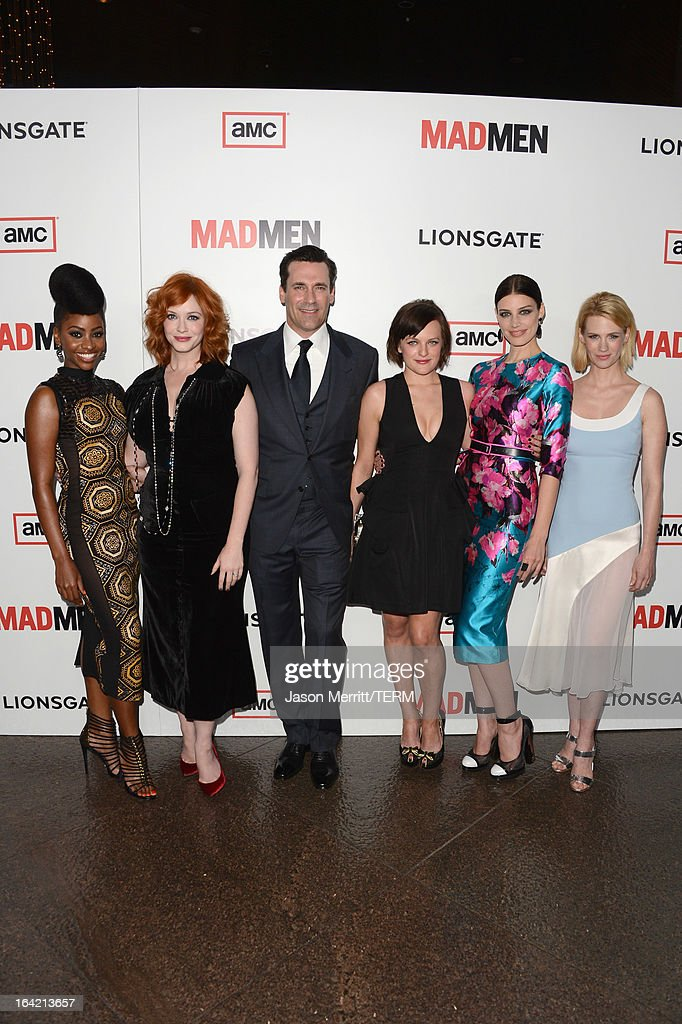 Actors <a gi-track='captionPersonalityLinkClicked' href=/galleries/search?phrase=Teyonah+Parris&family=editorial&specificpeople=7353606 ng-click='$event.stopPropagation()'>Teyonah Parris</a>, <a gi-track='captionPersonalityLinkClicked' href=/galleries/search?phrase=Christina+Hendricks&family=editorial&specificpeople=2239736 ng-click='$event.stopPropagation()'>Christina Hendricks</a>, <a gi-track='captionPersonalityLinkClicked' href=/galleries/search?phrase=Jon+Hamm&family=editorial&specificpeople=3027367 ng-click='$event.stopPropagation()'>Jon Hamm</a>, Elsabeth Moss, <a gi-track='captionPersonalityLinkClicked' href=/galleries/search?phrase=Jessica+Pare&family=editorial&specificpeople=793183 ng-click='$event.stopPropagation()'>Jessica Pare</a> and <a gi-track='captionPersonalityLinkClicked' href=/galleries/search?phrase=January+Jones&family=editorial&specificpeople=212949 ng-click='$event.stopPropagation()'>January Jones</a> arrive at the Premiere of AMC's 'Mad Men' Season 6 at DGA Theater on March 20, 2013 in Los Angeles, California.