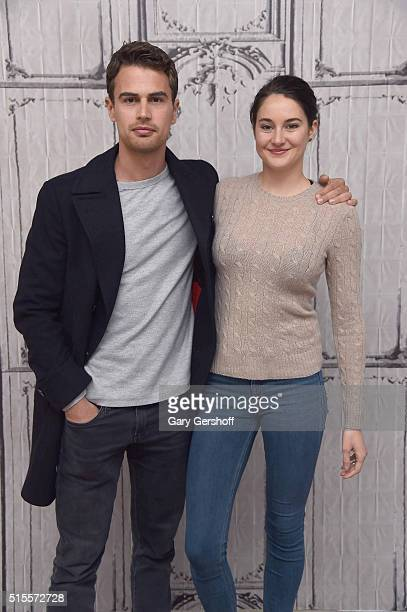 Actors Theo James and Shailene Woodley attend a discussion of the film ' Allegiant' during AOL BUILD Speaker series at AOL Studios In New York on...