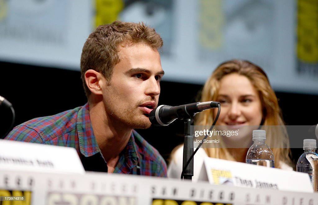 Actors <a gi-track='captionPersonalityLinkClicked' href=/galleries/search?phrase=Theo+James&family=editorial&specificpeople=7989783 ng-click='$event.stopPropagation()'>Theo James</a> (L) and <a gi-track='captionPersonalityLinkClicked' href=/galleries/search?phrase=Shailene+Woodley&family=editorial&specificpeople=676833 ng-click='$event.stopPropagation()'>Shailene Woodley</a> speak at the 'Divergent' panel during Comic-Con International 2013 at San Diego Convention Center on July 18, 2013 in San Diego, California.