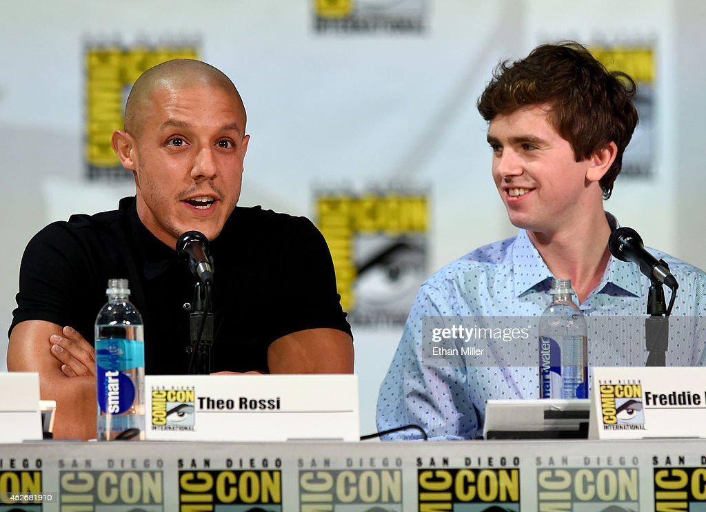 Actors Theo Rossi (L) and Freddie Highmore attend the Entertainment Weekly: Brave New Warriors panel during Comic-Con International 2014 at the San Diego Convention Center on July 25, 2014 in San Diego, California.