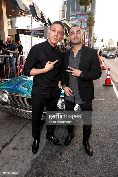 Actors Theo Rossi and Gabriel Chavarria attend the premiere of 'Lowriders' during opening night of the 2016 Los Angeles Film Festival at ArcLight...